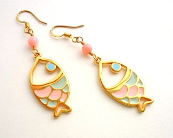 Fish earrings/ Drop earrings/ Pastel earrings/ pale pink earrings/ coral earrings/ summer earrings/ gold earrings/ baby pink earrings