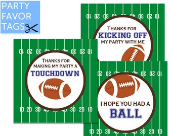 Football Party Favor Tags - Football Tags, Football Favor Tags, Football Birthday, Gift Tags, Cupcake Toppers, Stickers, Printable Favor Tag