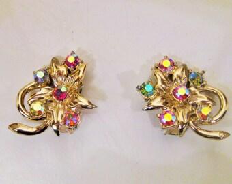 SALE Vintage Aurora Borealis earrings, rhinestone earrings, clip on earring, floral earrings, Aurora costume jewelry, Mother gift ideas