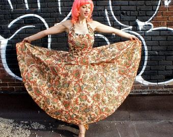 CADILLAC ORIGINAL 1950's Sequined Paisley Party Dress, (2 Pieces), Metallic Silkscreen Cotton Halter Top and Full Swing Circle Skirt