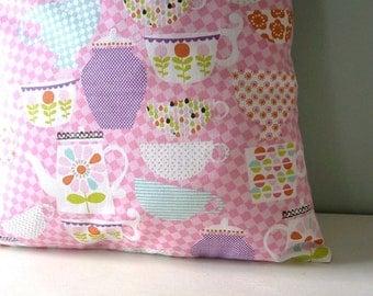Teapot Teacups Kawaii Cushion / Pillow cover Upcycled Teatowel