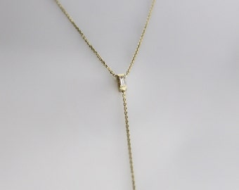 Delicate 14k Gold Diamond Baguette Y Necklace