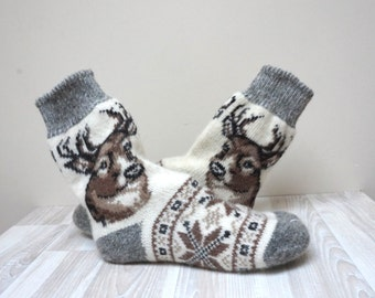 Deer Socks Stockings knitted Leg warmer milk white size 7 8 9 37-39 gray stripe brown handmade scandinavian pattern ready to ship Wool woman
