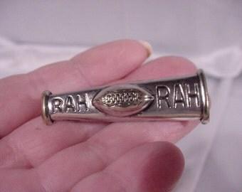 Vintage High School Cheerleading Megaphone Pin RAH RAH With Football