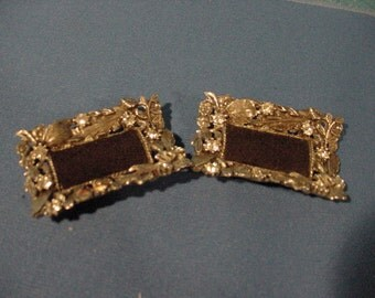 Vintage Shoe Clips Metal with Rhinestones Very Sparkly!