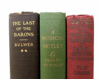 Red Brown Green Vintage Books / Book Decor / Instant Library/ Photo Prop/ Wedding Decor/ Book Bundle / Home Decor/ Decorative Books