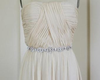 Sale! Bridal Gown Sash Belt, Crystal Sash, Wedding Dress Sash belt, Rhinestone Beaded Sash - KYRA
