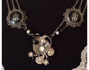 Vintage Repurposed Earring Brooch Bib Necklace Siamese Black Silver Filigree Warrior Pearls Ornate Retro 50s OOAK Original WishAnWearJewelry