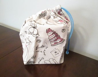 Fabric gift bag - White wedding print (small)