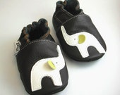 outdoor sole shoes leather baby handmade infant gift elephant white  dark-brown 12 18 ebooba 306-3