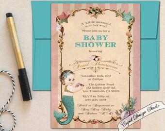 Mermaid baby shower invitation/Mermaid baby shower invites/Little mermaid baby shower invitations/Coral baby shower invitation/Baby shower.