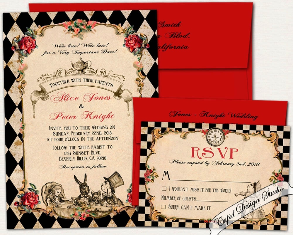 alice in wonderland wedding invitation  alice in wonderland