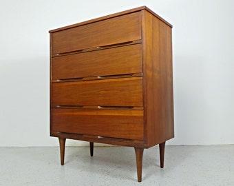 mid century modern minimalist walnut chest 4 drawer dresser