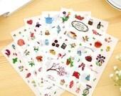 Happy Life Deco Sticker - Transparent Sticker - Cell Phone DIY Sticker - Diary Sticker - Filofax - 6 Sheets in