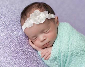White Headband - White Flower Headband - Chiffon Bow - Elastic Band - Soft Headband -Flower Headband- Chic Headband- Photo Prop Headband-