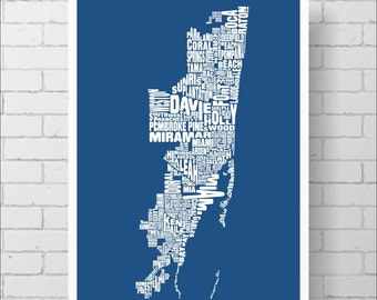 Miami Map Print -  Miami Fort Lauderdale Area Typography Map, Various Colors, Type Map Art Print Poster