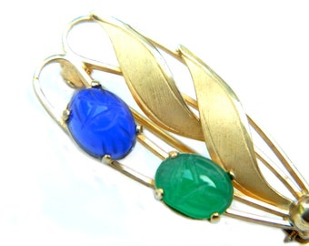 Gemstone 12K Gold Filled Brooch CC Curtis Creations Mid Century Vintage Collectible Jewelry For Women Scarab Leaf Pin Summer Jewelry