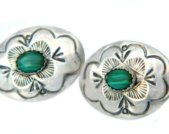 Navajo Sterling 925 Malachite Earrings Signed LS Sterling Larry Sandavol Vintage Native American Jewelry For Women Silver And Malachite