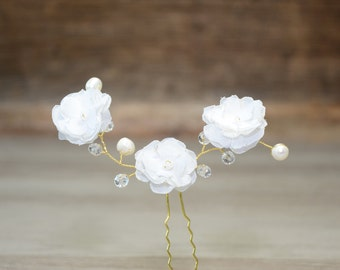Ivory gold floral hair pins flower hair accessories Flower hair accessory Pearl crystal hair pin bridal hair barrette wedding hair pins boho