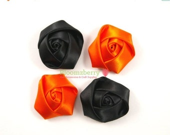 """Fall Sale 15% OFF 4 pcs 1.75""""  Silky Satin Roll Rosettes -Black and Orange Color - Halloween Rosettes - Satin Flowers - Hair Accessories Sup"""