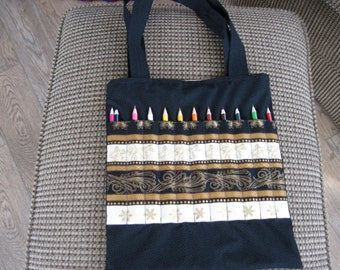 Adult coloring book and pencil bag -- black and gold