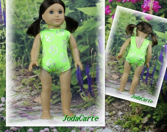 "Doll Leotard/Swim Suit ""Lime Green with Peace Signs"" for American Girl Doll"