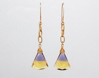 Unusual ametrine drop earrings
