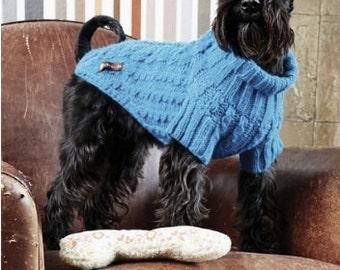 Blue Cable knitt dog jumper.