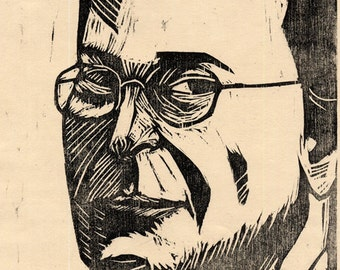 Hand-Pulled Woodcut Portrait