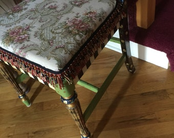Lovely tapestry fabric is used on my handpainted black and white checked chair, great for dining or anywhere!