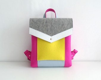 Felt Genuine Leather Backpack Yellow Pink Gray White Blue
