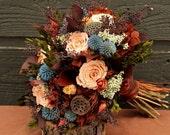 Fall Preserved Rose Wedding Bouquet, Peach, Plum, Chocolate & Blue Bridal Bouquet, Dried Flower Autumn Bouquet, Fall Rose Brides Bouquet