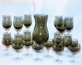 Vintage Sasaki Smoke Grey Glass Martini Pitcher w/ Stirrer and 20 Cocktail Glasses/Hawthorne Coronation