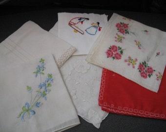 Vintage Ladies Assorted Handkerchiefs, Six Pieces