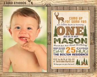 1st birthday invitation - Hunting invitation - Deer invitation - Rustic Hunting birthday invitation - First birthday invite