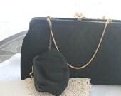 Vintage black handbag,black quilted pattern,After Five vintage purse,wedding ,bridal shower,evening handbag