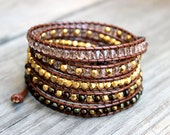 Beaded Leather Wrap Bracelet 5 Wrap with Shades of Gold Glass Beads and Tigers Eye on Genuine Saddle Brown Leather