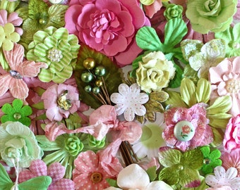 Pink and Green  Flowers by the Bunch* Flower Inspiration Kit*Shabby Chic Flowers*Cottage Chic Inspiration