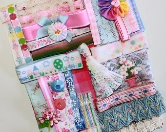 Pink and Blue Inspiration Kit*Vintage Lace, Ribbons and Trims*Pastel Mosaic