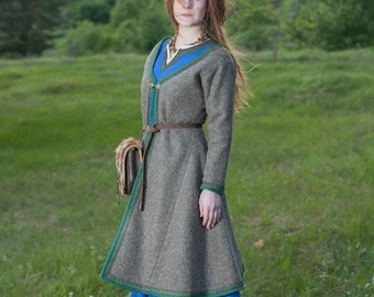 """SALE! Womens Coat Viking Kaftan """"Ingrid"""" WITHOUT trim with green accents only! One size! Ready to Ship!"""