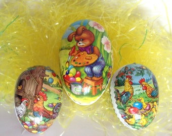 Easter Egg Candy Holders Vintage Germany Cardboard Kitsch Bunny Love Lot of 3