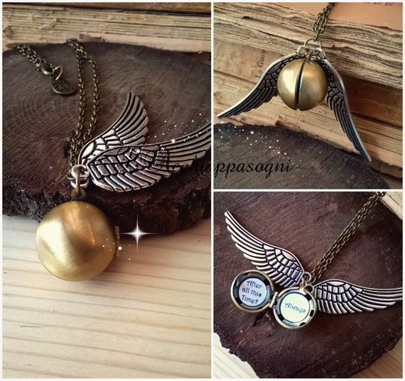 """Harry Potter INSPIRED Jewelry - Golden Snitch brass locket necklace """"I open at the close"""" """"After all this time?"""" """"Always"""""""