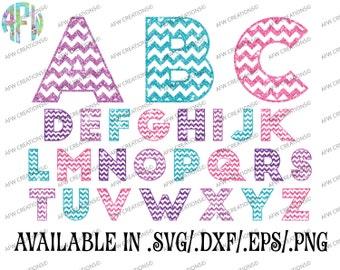 Digital Cut Files, Chevron Pattern Letters, SVG, DXF, EPS, Alphabet, Block, Font, Vinyl, Silhouette, Cricut, Design Space, Vector