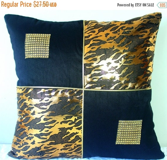 Decorative Pillows Black And Gold : Black and Gold Throw Pillow Gold Pillow Cover Shimmer Abstract Contemporary Decorative Pillow ...