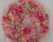 Valentine wreath, cottage wreath, front door wreath, spring wreath, hydrangea wreath, valentine decoration, spring decoration, door wreath