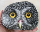 Great Grey Owl Face Rock OOAK