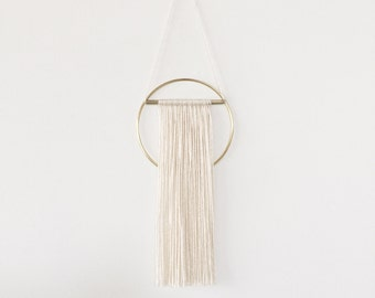 Mini Brass Wall Hanging with Bamboo Silk Blend Fiber