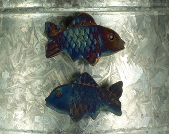 Raku Fish Magnet.  Refrigerator magnet.  Multi colored copper glaze.  Ready to ship.