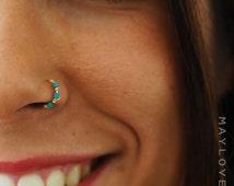 Nose Ring Hoop, turquoise nose hoop Nose Piercing, Tragus hoop Earring, Cartilage Earring, Helix Piercing