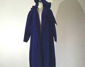 Vintage 1930s coat - 30s velvet cape in cobalt velvet with hood - 30s opera cape